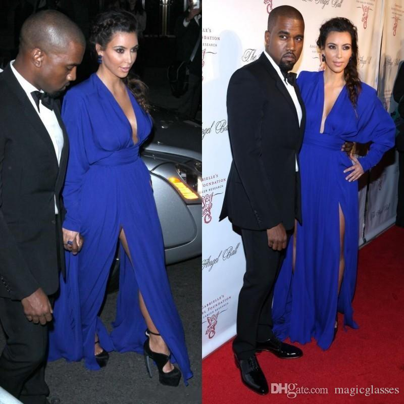 Kim Kardashian Deep V Neck Long Sleeve Royal Blue Side Slit Floor Length Red Carpet Celebrity Dresses Evening Gowns Prom Gowns Elegant