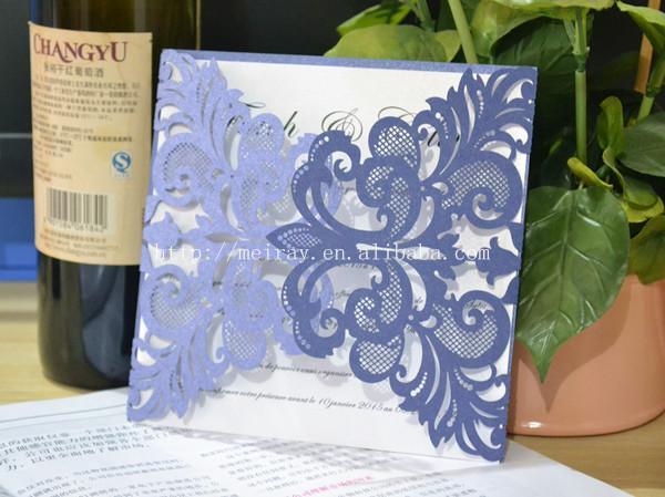 Wedding Invitations In Bulk: Wholesale Navy Blue Wedding Invitations Elegant,Laser Cut