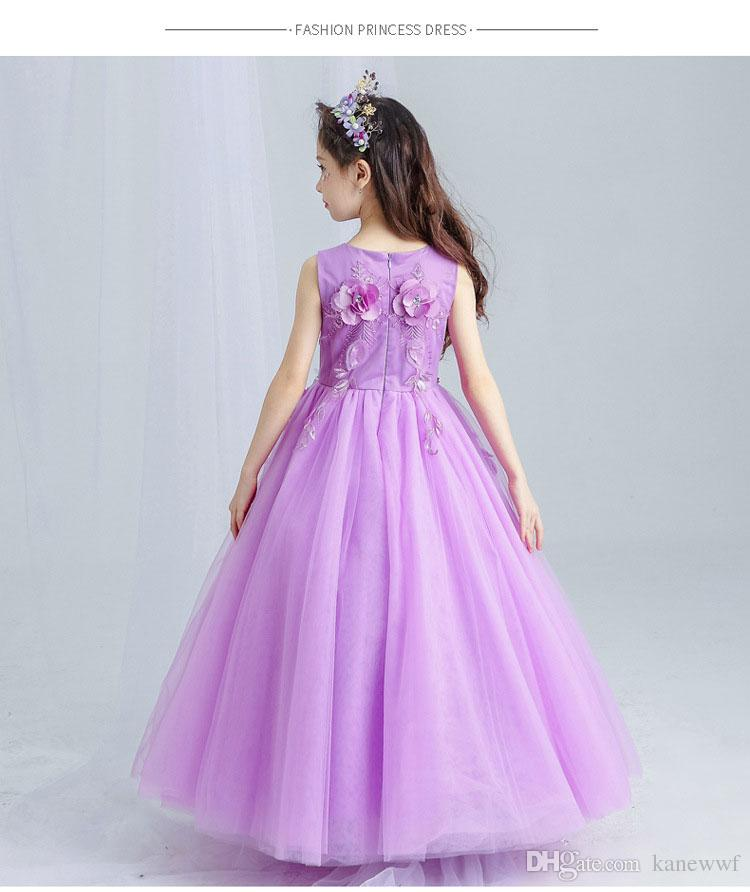 Violet Tulle Lace Flower Girl Wedding Dress Ankle Length Appliques Bead Kids Party Prom Dresses First Communion Dresses