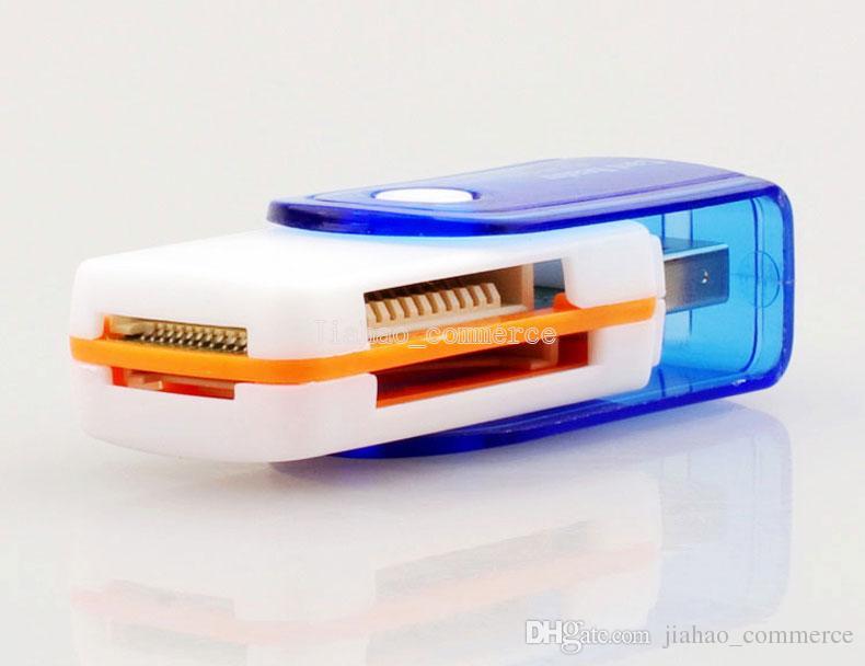 Todos em 1 conector de cartão de memória USB 2.0 Multi Memory Adapter para Micro SD MMC SDHC TF M2 Memory Stick MS Duo RS-MMC Com pacote de varejo