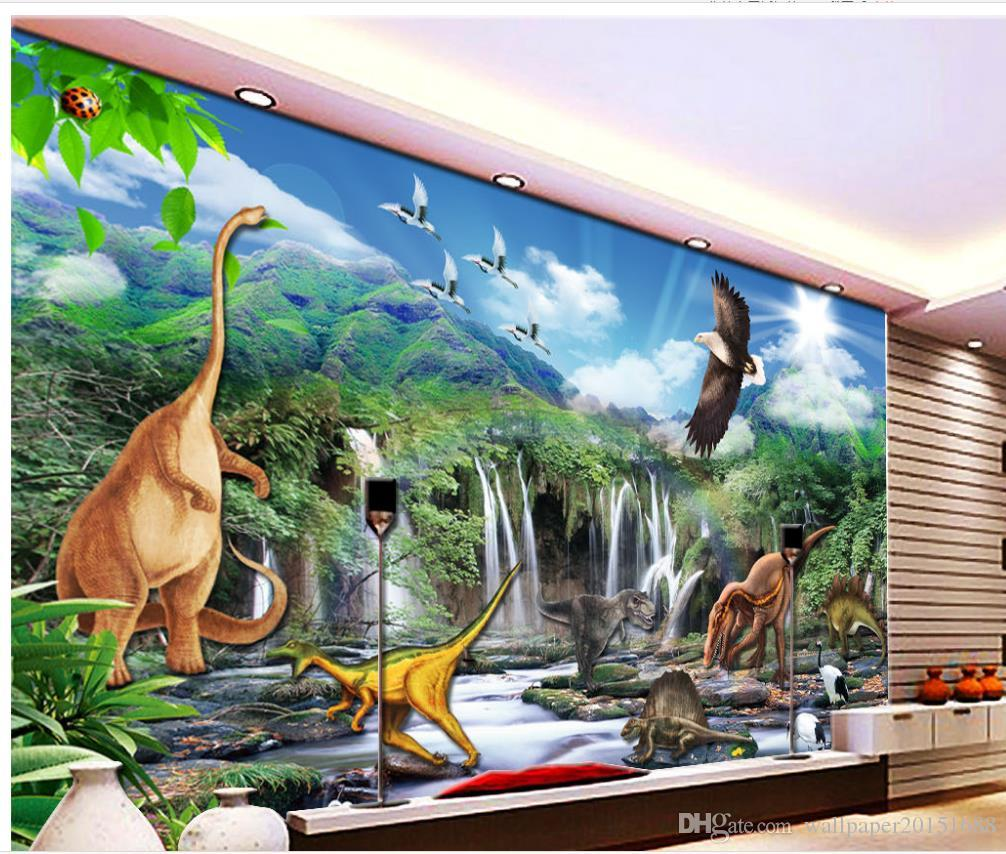 High definition jurassic dinosaur world living room tv for Definition mural
