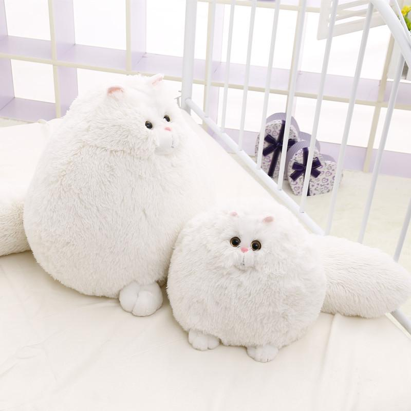 2019 30cm White Fat Persian Cat Plush Toys Kids Soft Cat Stuffed