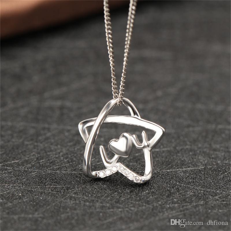 Сердце кулон высокое качество стерлингового серебра 925 кулон алфавит пятиконечная звезда кулон для женщин подарок PS04171