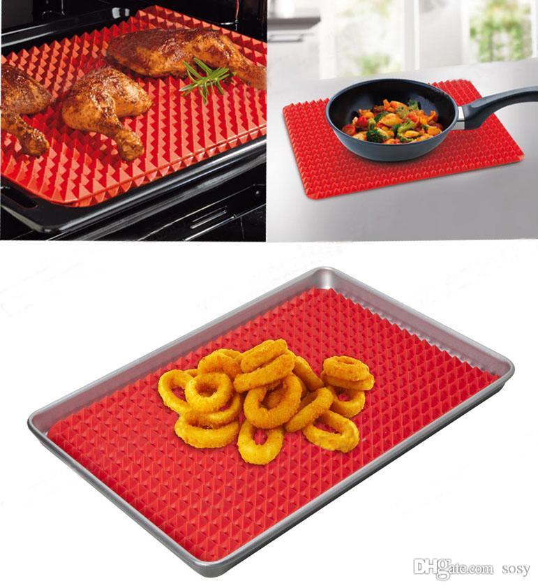 Kırmızı Piramit Bakeware Pan Yapışmaz Silikon Pişirme Paspaslar Pedleri Kalıpları Pişirme Mat Fırın Pişirme Tepsisi Levha