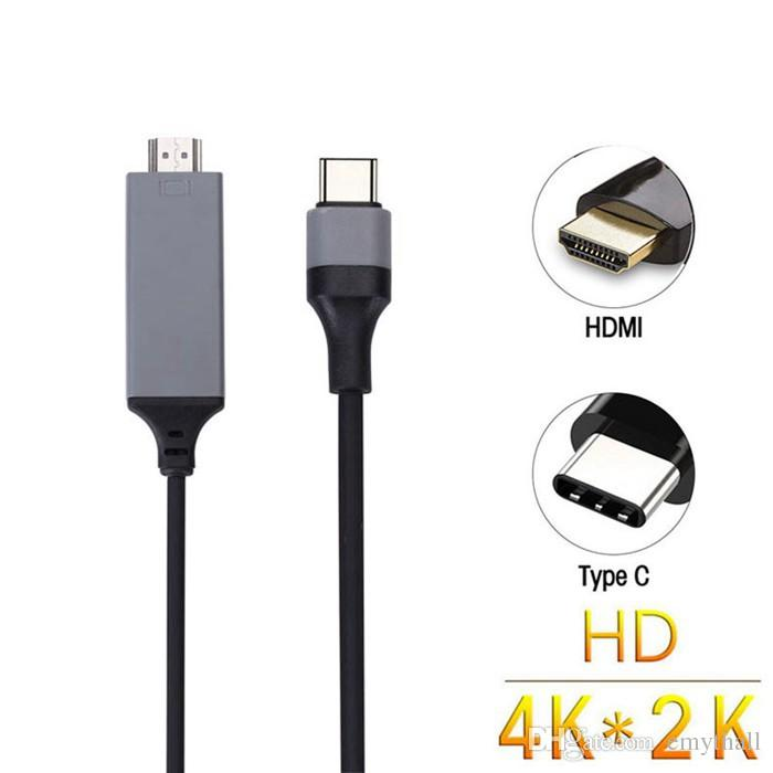Type C to HDMI Cable 4K 2K High Speed HDTV Cable Adapter For MacBook ChromeBook Pixel Galaxy S8 plus 200 cm with retail package