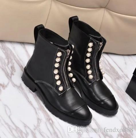 dedf94bbd 2017 New Fashion Round Toes Pearl Decoration Zip Martin Boots Women Ankle  Boots TY22 Women Ankle Boots Martin Boots Online with $95.71/Piece on  Fendxo888's ...