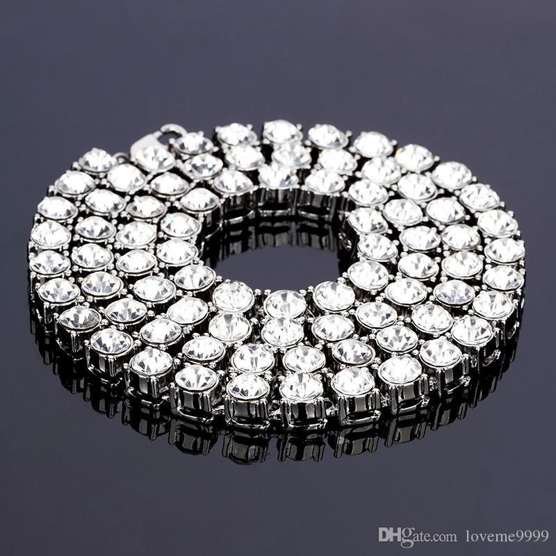 Хип-Хоп Высокое Качество Мужские 8 мм Широкий 1 ряд Квадратных Камней Бриллиантовое Колье Цепи Рэппер Коренастый Мода Мальчики шикают Iced Out cz кристалл Ювелирные Изделия