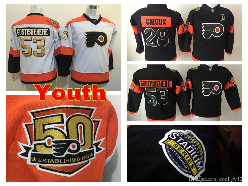 new styles 6b317 67ba8 Youth Philadelphia Flyers Hockey Jersey 28 Kids Claude Giroux Jersey 53  Shayne Gostisbehere 2017 Stadium Series Black 50th Anniversary White
