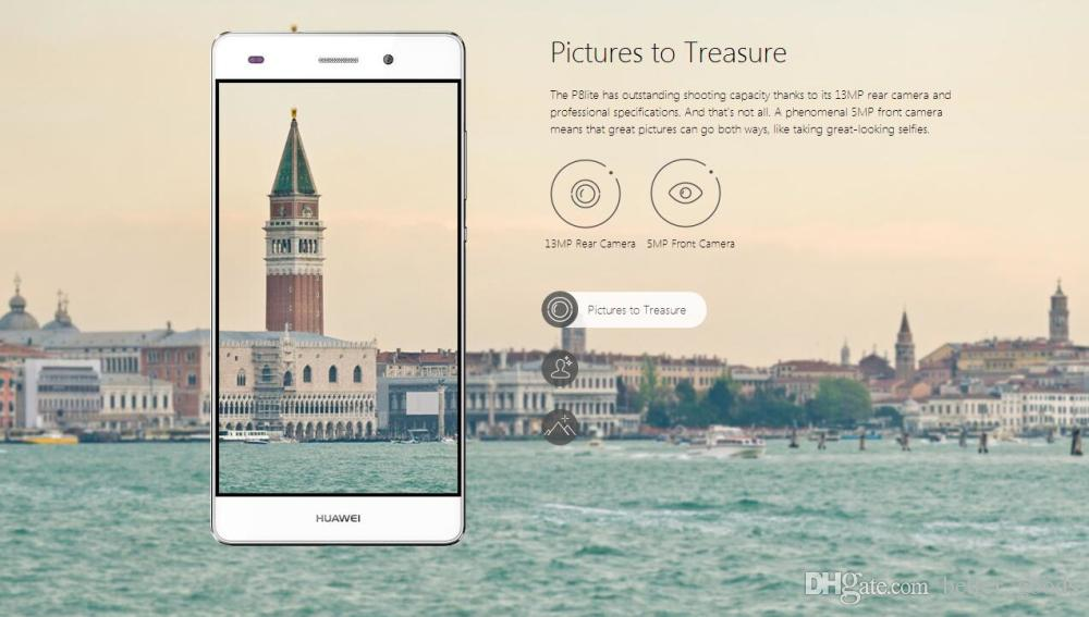 Orijinal Huawei P8 Lite 4G LTE Cep Telefonu Hisilicon Kirin 620 Sekiz Çekirdekli 2 GB RAM 16 GB ROM Android 5.0 inç HD 13.0MP OTG Akıllı Cep Telefonu
