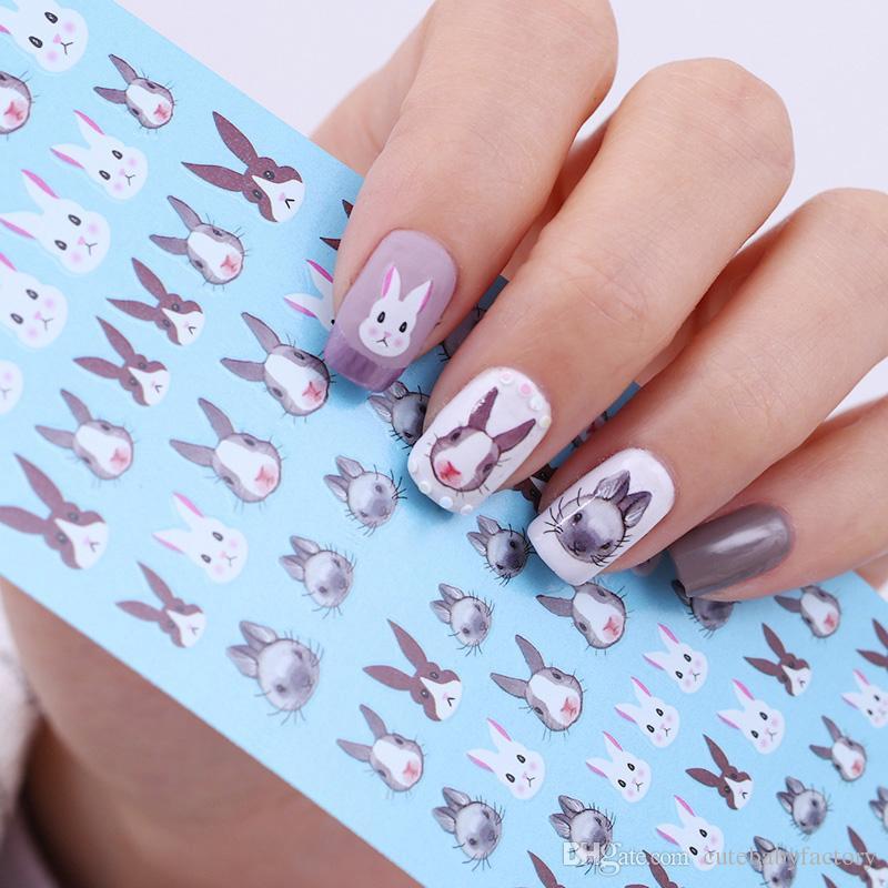 Rabbit Pattern Nail Water Decal Kawaii Bunny Nail Art Transfer ...