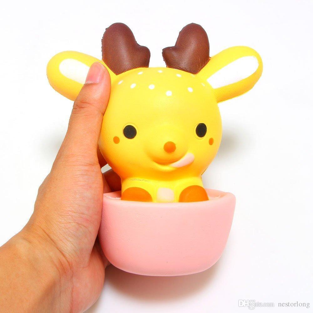 15 CM Squishy Jumbo Kawaii Fincan Geyik Krem Kokulu Çok Yavaş Yükselen Dekompresyon Sıkmak Oyuncaklar Çocuklar Için Bebek Hediye Eğlenceli