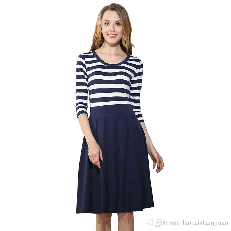 0f54a9609971e Fashionable women s clothing, Europe and America sell well, popular  knitting blend, round neck seven, sleeve stripe big swinging dress