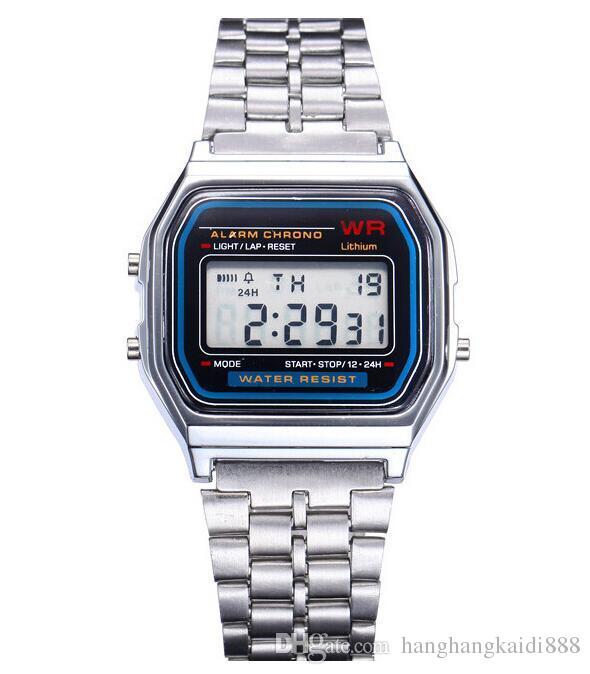 2018 vestido reloj digital relojes de oro de la vendimia retro de la manera de los hombres reloj de pulsera electrónica de luz LED del relogio masculino FYMHM102