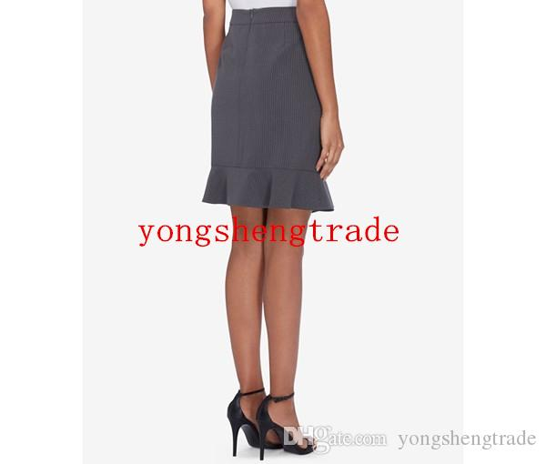 Fashion One-Button Skirt Suit For Women Custom Made Gray pinstripe Women Business Suits Perfect For Any Occasion