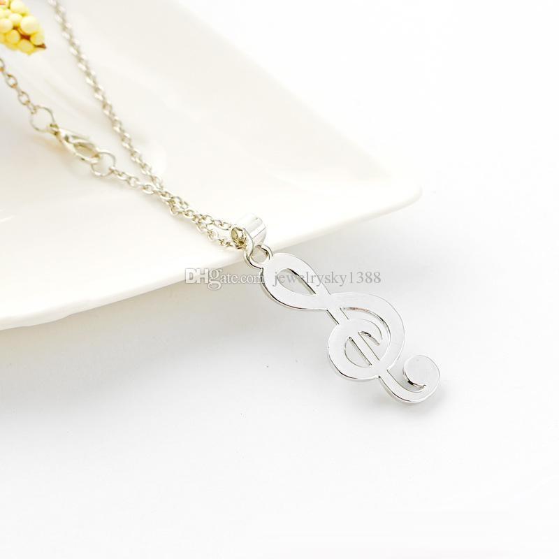 Новый минималистский простой Моды полые Кристалл музыкальная нота кулон ожерелье музыка ювелирные изделия специальный подарок бесплатная доставка