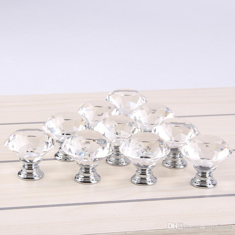 30mm Diamond Shape Crystal Glass Cabinet Handle Knob Cupboard Drawer Knob Pull Shiny Polished Chrome For Home Kitchen Drawer 8E