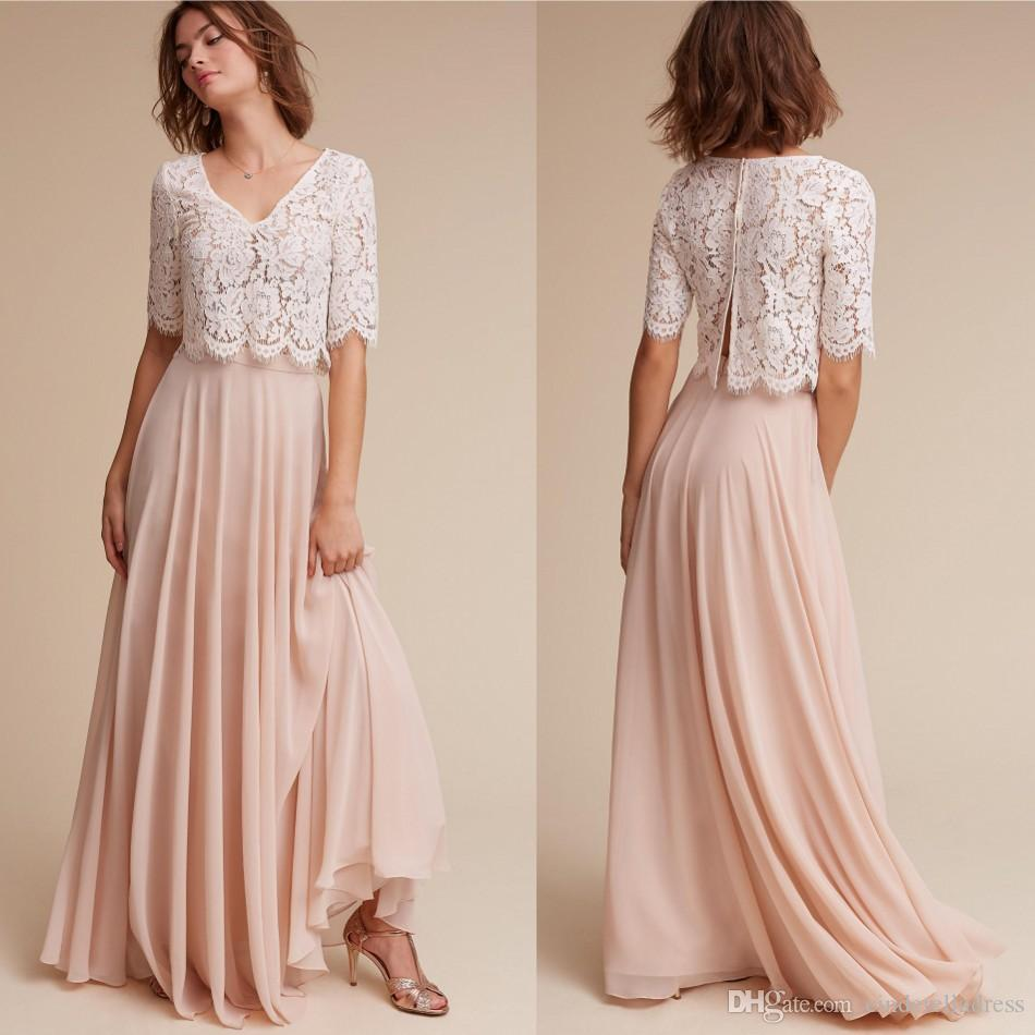 Elegant two pieces short sleeves bridesmaid dresses v neck lace elegant two pieces short sleeves bridesmaid dresses v neck lace top blush pink chiffon maid of honor plus size wedding guest party dress bridesmaid dresses ombrellifo Gallery