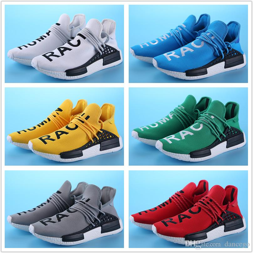 1cb189ae7f8d1 2019 With Box 2018 Human Race Pharrell Williams Running Shoes Online Sports  Men And Womens Boots Sneakers Size 36 45 From Dancego