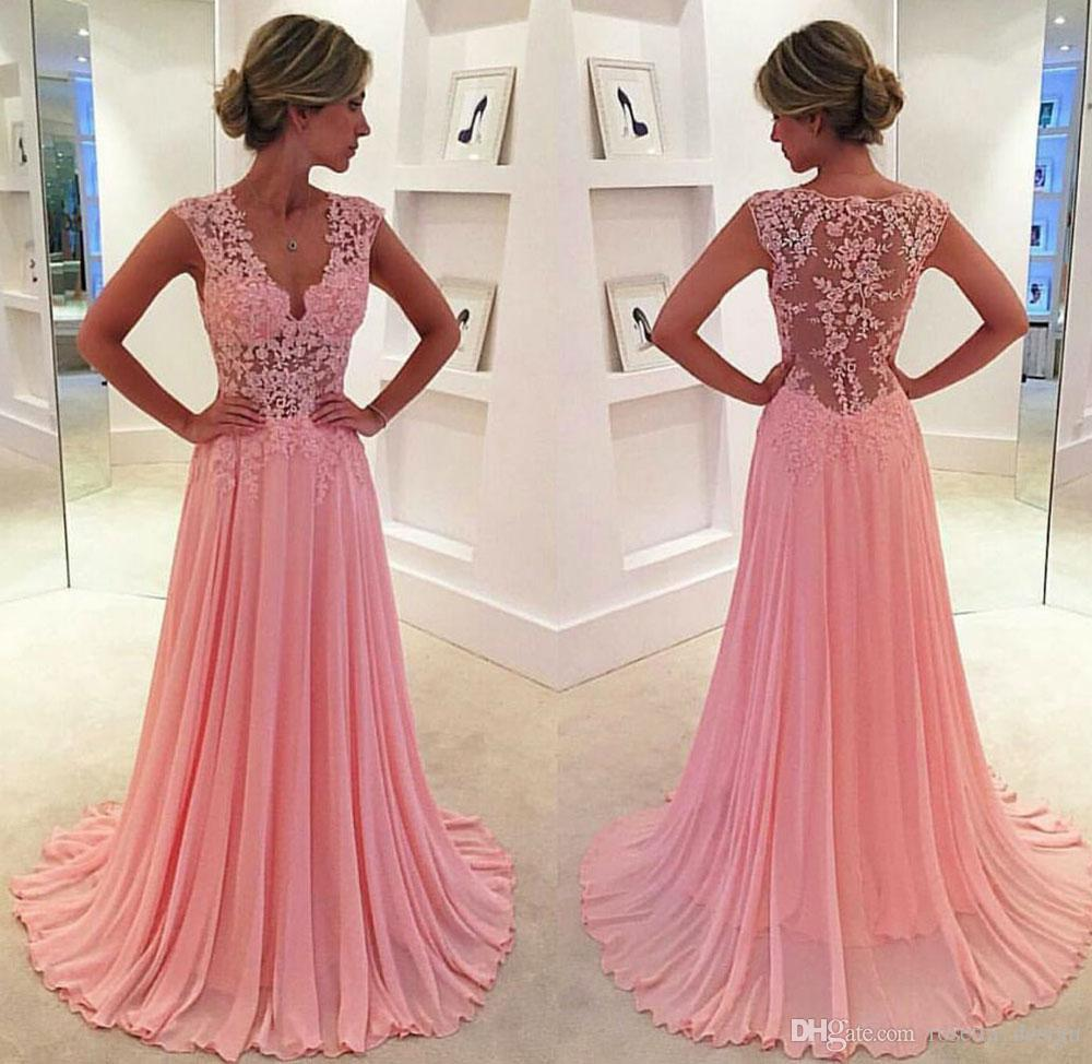 Rose Gold Prom Dresses 2017 See Through Bodice Lace Applique Long ...