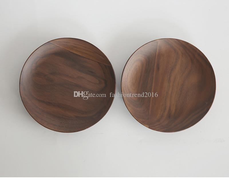 Retro Round DIY Handcraft Wood Dish Coffee Milk Tea Tray Eco Friendly Wooden Cup Plate Serving Dishes Storage Wholesale