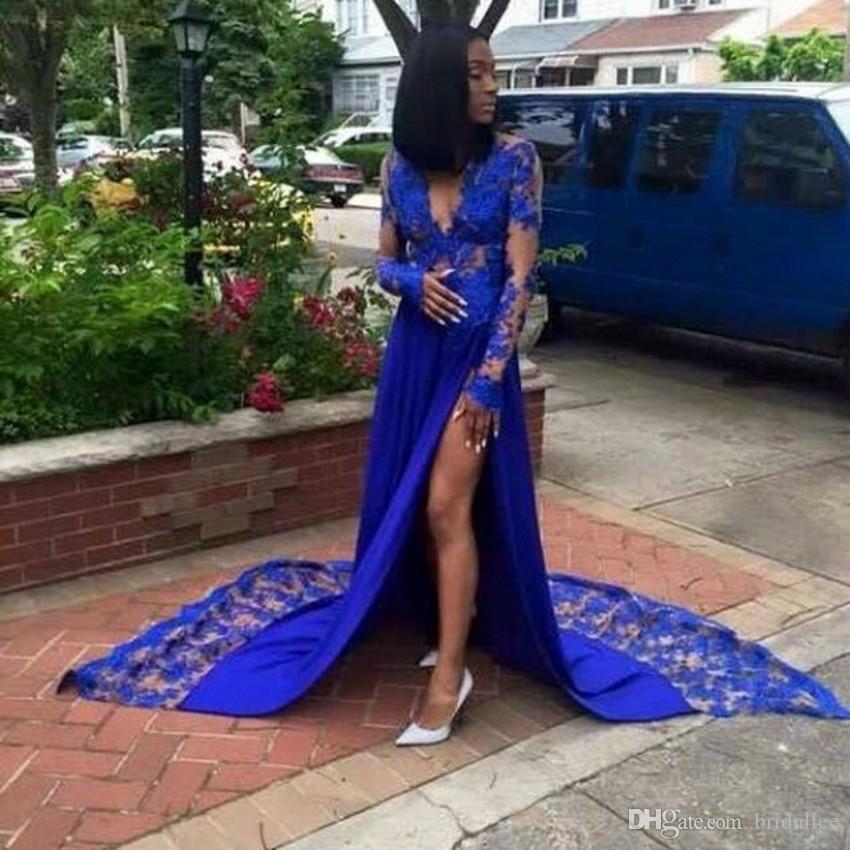 df19f67c7d0 Galajurken Royal Blue Prom Dresses A Line V Neck Long Sleeve Appliques  Chiffon High Slit Evening Party Gowns Black Grils Dress Teenage Prom Dresses  Tutu ...