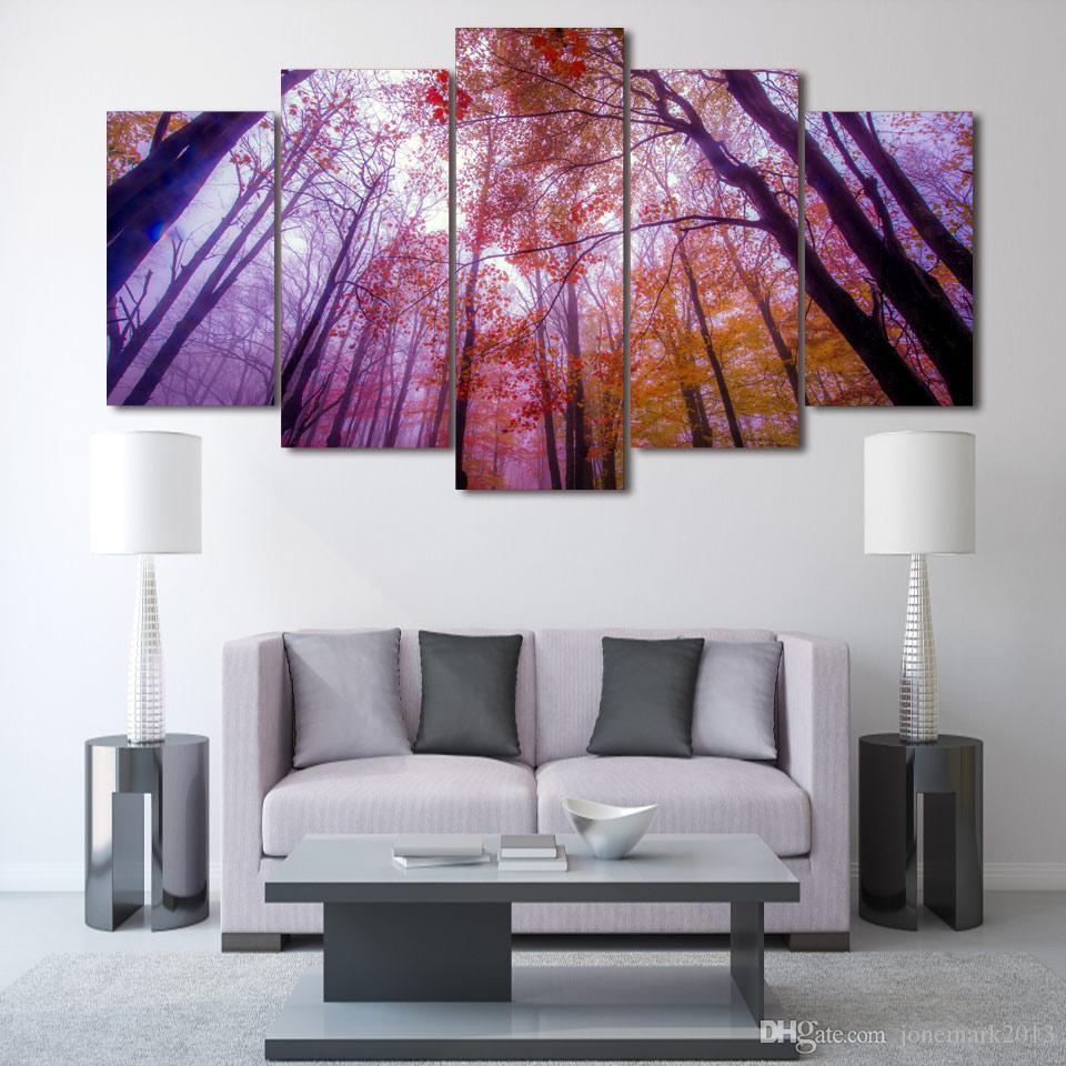 / Set Encadré HD Printed Tree automne parc Groupe Peinture salle décor imprimer affiche photo toile décoration Livraison gratuite / ny-263