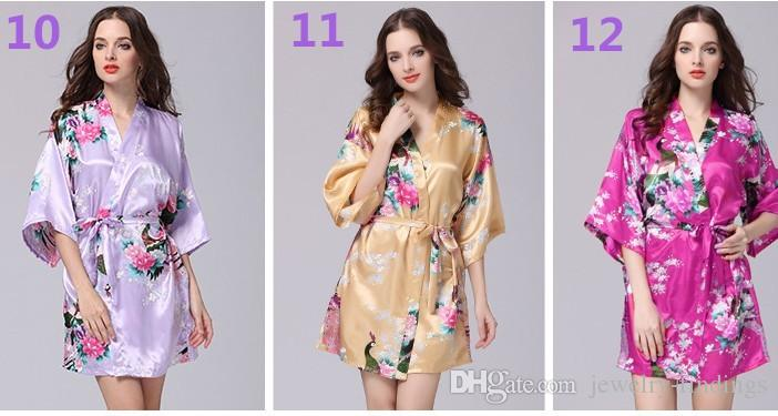 Hot Women Short Floral Robe Dressing Gown Bridal Wedding Bride ...