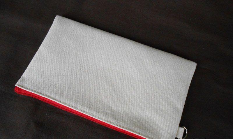 12*20cm white cotton canvas cosmetic bags with key chain DIY women blank plain zipper makeup bag phone clutch bag Gift organizer cases