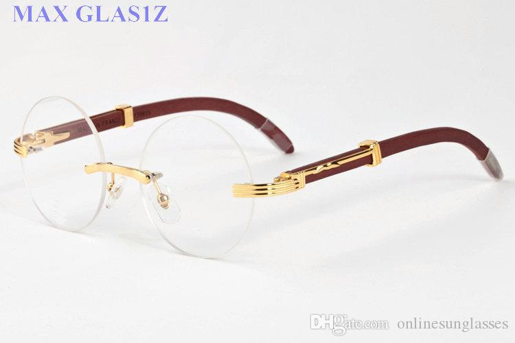 Sıcak satış güneş gözlüğü tasarımcı çerçevesiz yuvarlak çerçeve gözlük erkekler veya kadınlar için açık spor altın gümüş çerçeve ve şeffaf lens ile kutu