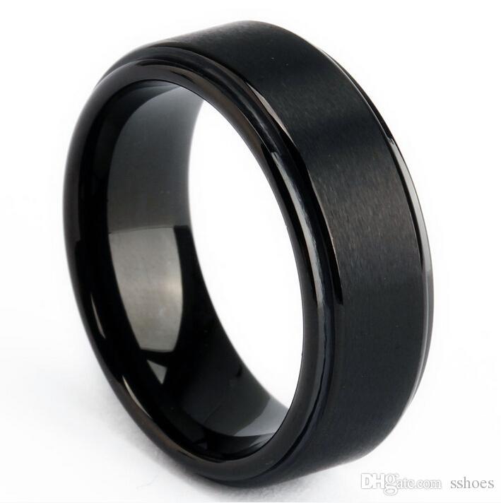 8mm Stainless Steel Ring Band Titanium Silver Black Gold Men Wedding