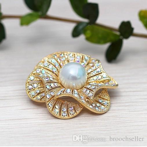 1.8 Inch Rhinestone Crystal Diamante Floral Broche Bruiloft Corsages 3 Kleur Beschikbare Vintage Stijl