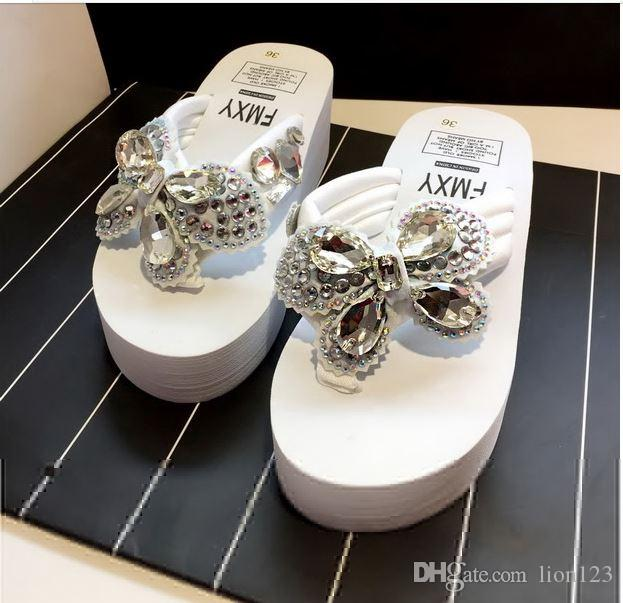 573929487bd146 Handmade Camellia Slippers Rhinestone Beaded Platform Wedges Slippers Bow  Flip Flops Sandals Crystal Transparent Jelly Slippers Pearl String Solid  Slippers ...