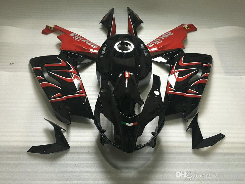 طقم طقم حقن للجسم لـ Aprilia RS125 06 07 08 10 11 Bodywork RS 125 2006 2011 fairings black red set AA02