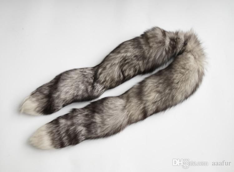 Sciarpa di pelliccia di volpe naturale naturale delle donne di inverno Pelliccia di collo di pelliccia di volpe lunga cappuccio di pelliccia di 160cm Scaldino molle del collo