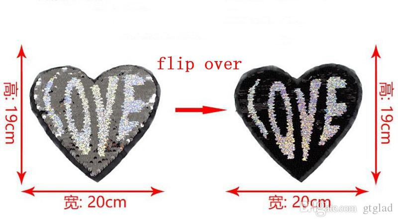 2017 NEW LOVE Heart Reversible color change Sequins Sew On Patches for clothes DIY Patch Applique Bag Clothing Coat Sweater Crafts