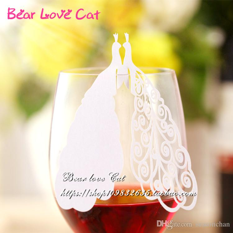2017 New Arrival Wedding Favor Guest Name Place Card, Laser Cut Peacock Wine Glass Card, Noble Table Mark Paper Party Decoration