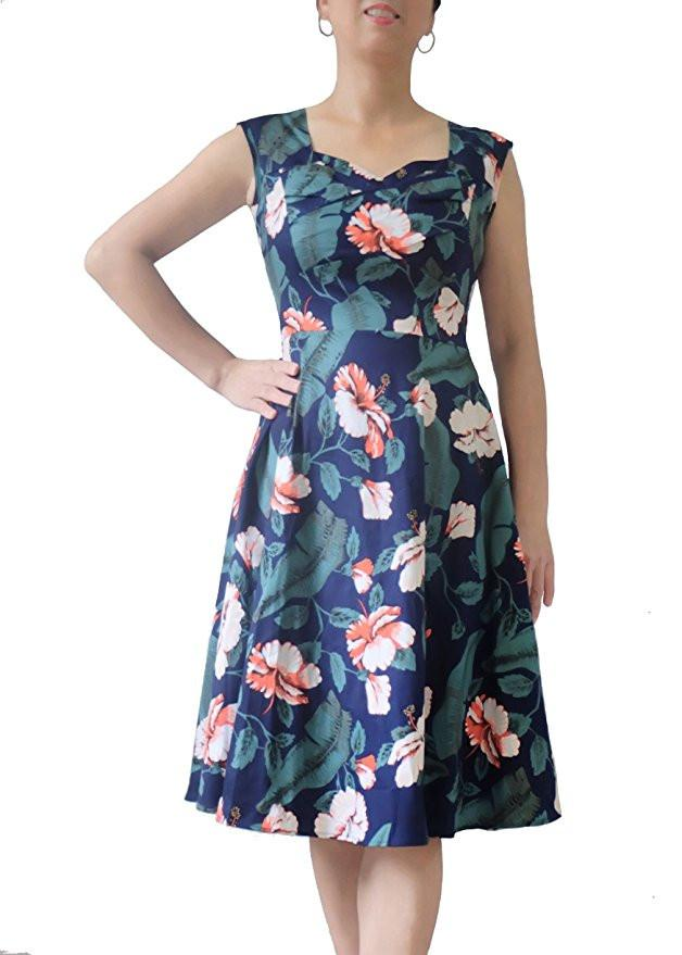 Womens Sleeveless Dress Vintage 50s 60s Hepburn Style Retro Printing Formal Birds Garden Tea Elegant Casual Party Cocktail Swing Dress