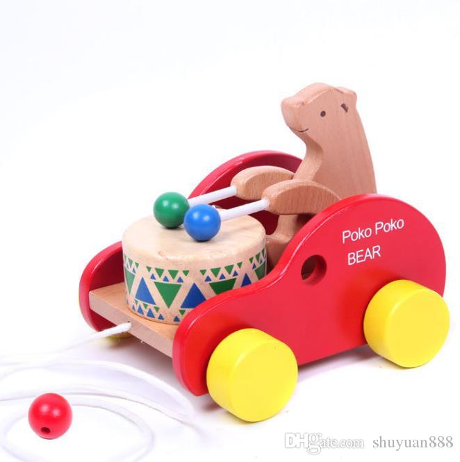 2019 Wooden Bear Dragging Drums Infant Toys 1 2 3 Year Old Early