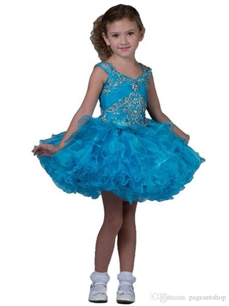National Glitz Pageant Dress Infant Custom Made Turquoise Short Mini Gowns Baby Girls Birthday Party Pageant Tutu Dresses