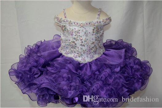 Off spalla perline bambina viola a buon mercato mini abito corto palla cupcake bambina bambine pageant abiti ragazze di fiore matrimoni glitz