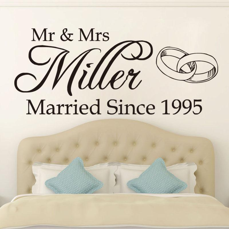 Mr Mrs Wedding Romantic Vinyl Wall Art Stickers Home Decor Personalize Name  Sticker Modern Rings Diy Wall Decals Decoration Bathroom Wall Stickers  Batman ...