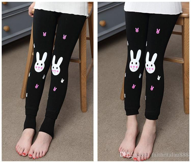 Hot sale 2016 new cute rabbit winter elastic leggings girl pants kids warm thick soft nap children cartoon clothing 2-12T