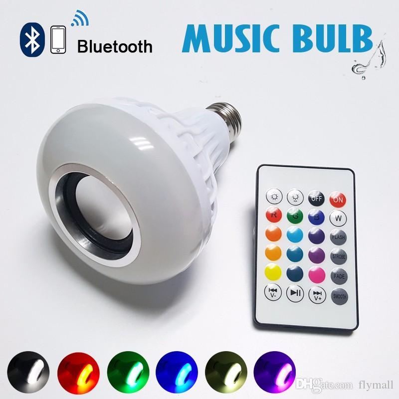 NEW Updated Smart RGB RGBW Wireless 12W E27 LED RGB Bluetooth Speaker Bulb Dimmable with Music Playing Light Lamp + remote controller