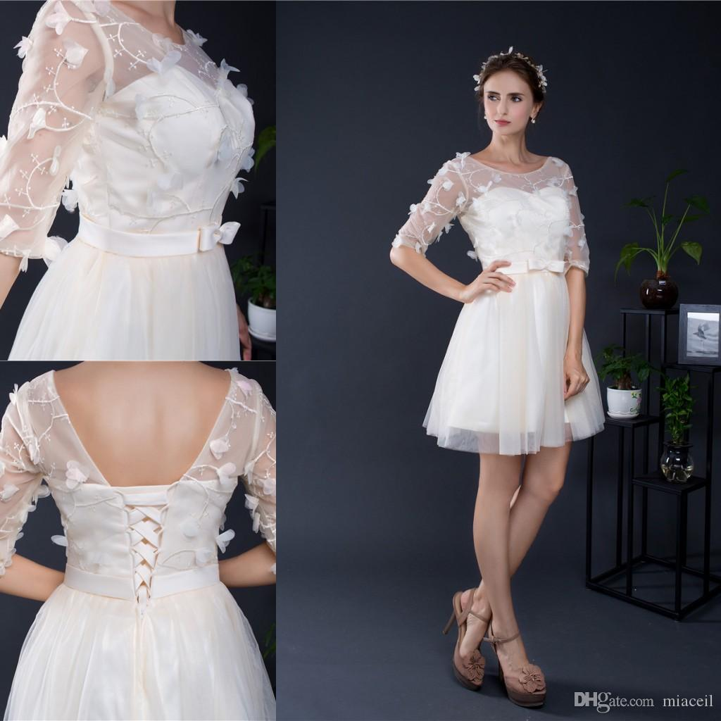 Sheer Half Sleeves Semi Formal Party Dress For Teens Lace Overlay