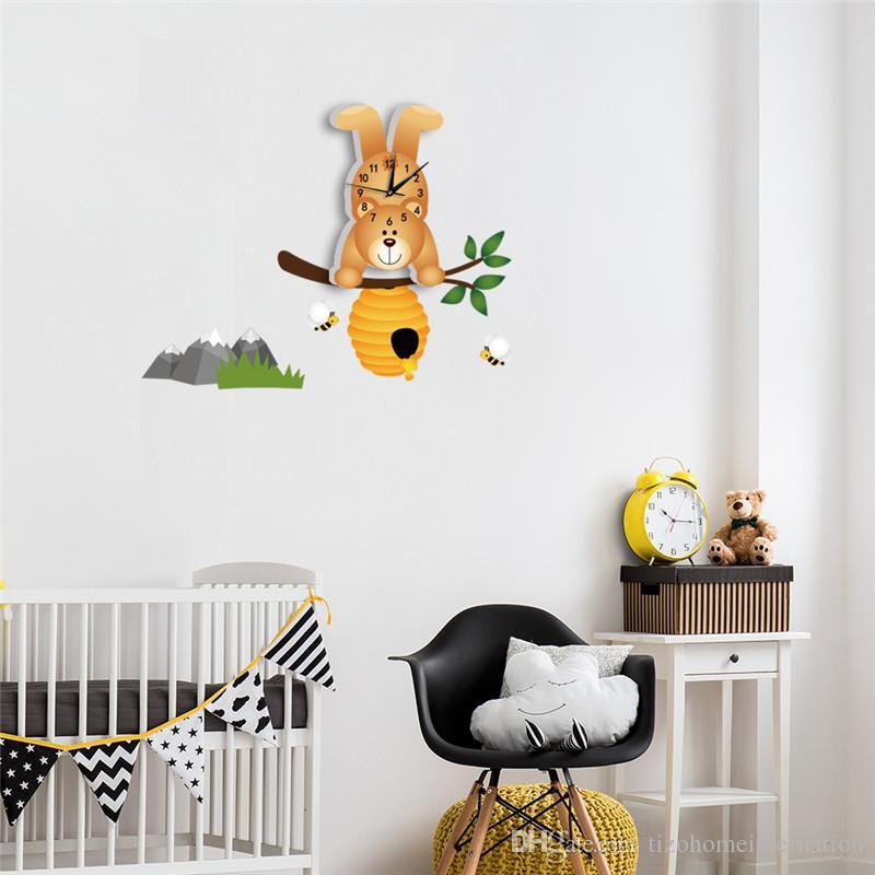 Arabic Numerals European Style Cute Cartoon Bear Rustic Style Eco-friendly PVC Wall Clock Decor for Kids Room