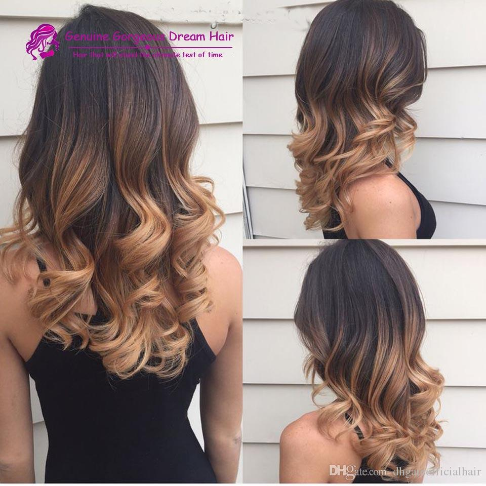 3 Tone Color 1b427 Ombre Human Hair Wigs Full Lace Human Hair