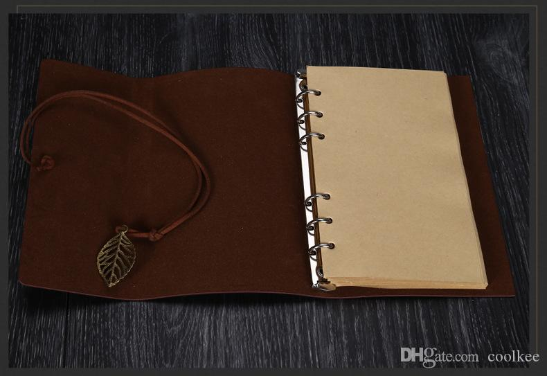 Vintage Leather Travel Journal Notebook Leaves Decoration stationery notebook a7 leaves A6 stationery student notepads school supplies