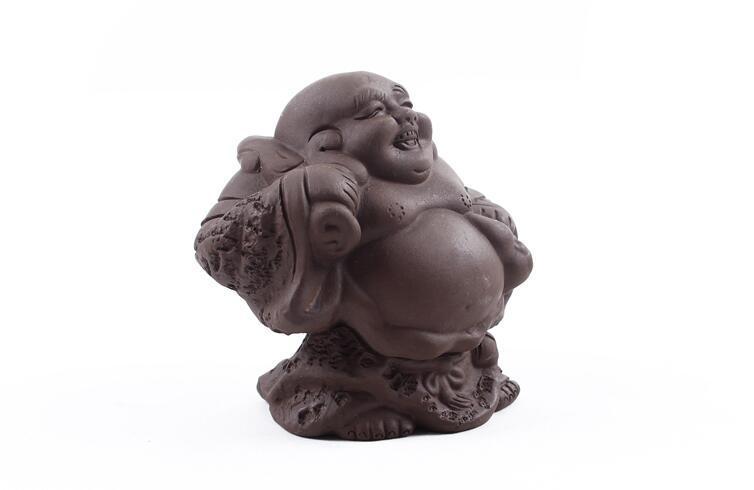 Продажа завода творческий элегантный фиолетовый глины улыбка китайский tieguanyin чай домашних животных около 8 см * 9 см чайные аксессуары T63