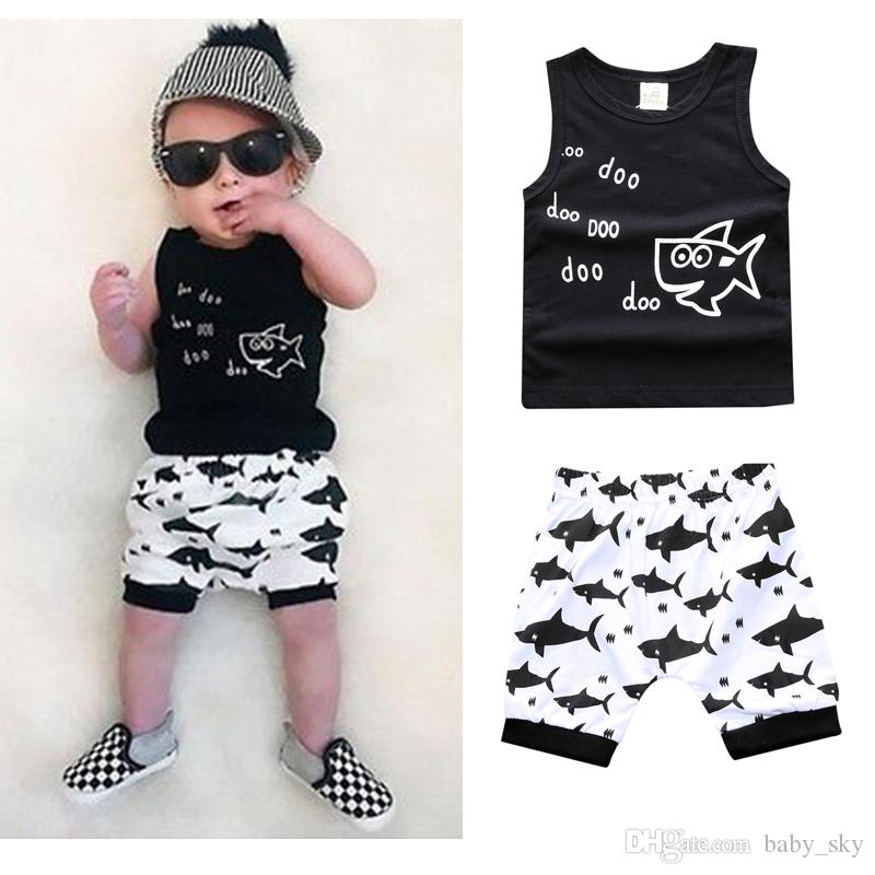 48fae4a9f853 2019 Kids Clothing Sets Summer Baby Clothes Cartoon Fish Shark Print ...