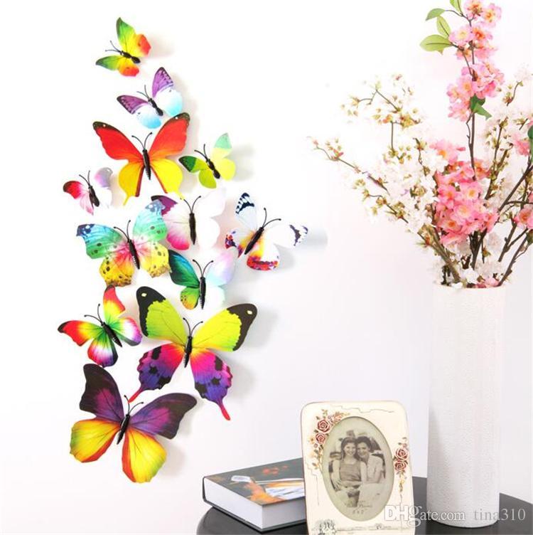 Новые красивые бабочки холодильник stick 3d наклейки 3d бабочки ПВХ съемные наклейки на стены butterflys свадебные украшения комнаты I038